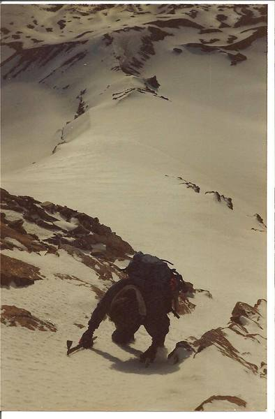 Steve Brown on Cooper Spur in April of 1985.  Good Conditions.