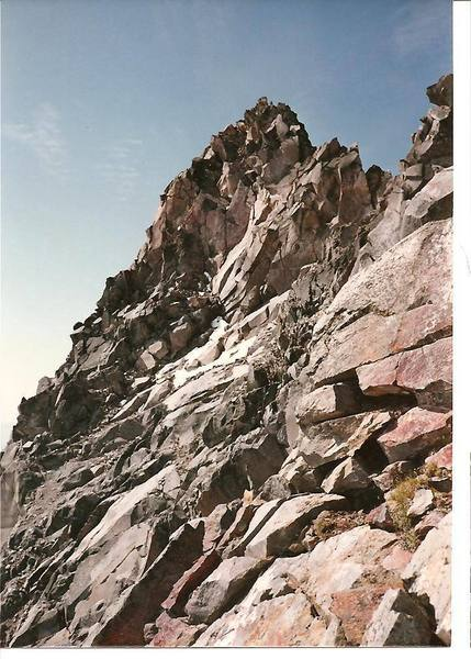 this is a view of the summit pinnacle from the east side.