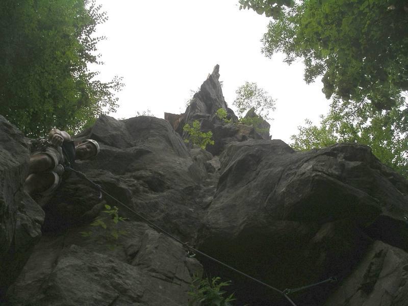 Climbing Free Range Chicken, below the Jolt arete.
