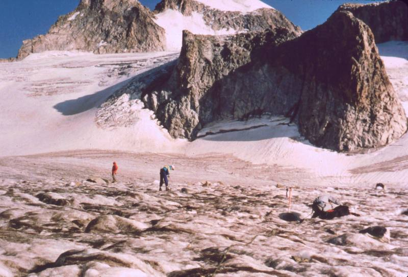 Tony Bubb and Company Ascend Gannet Peak in 1993 or so.  Photo by Tony Bubb.