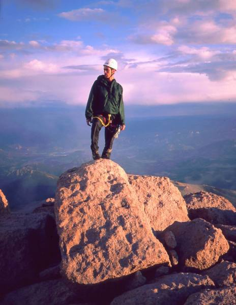 Mark Spieker, an old pal and occasional visiting partner. <br> In this photo, Mark stands on the summit after an afternoon nap on the top of Longs Peak in 1997 following an ascent of The Casual Route. Photo by Tony Bubb.