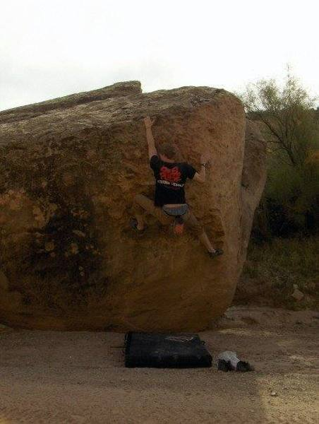 Workin' a fun new problem on semi-chossy sandstone at Rabbit Valley, Fruita, Colorado.