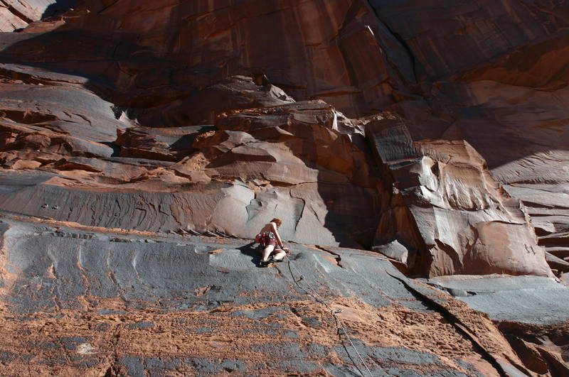 Me on a Sport/Trad climb in Kane Springs Canyon, Moab, Utah.