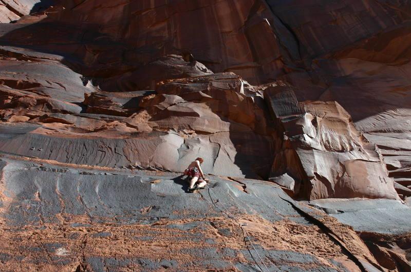 Me on a Sport/Trad climb in Kane Springs Canyon, Moab, Utah.