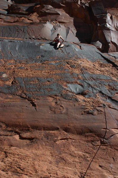 The Ice Cream Parlor Wall, Kane Springs Canyon, Moab, on a beautiful October morning.