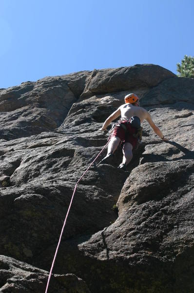 Climbing some new sport routes at the obscure crag of Maxwell Falls, Evergreen, Colorado.