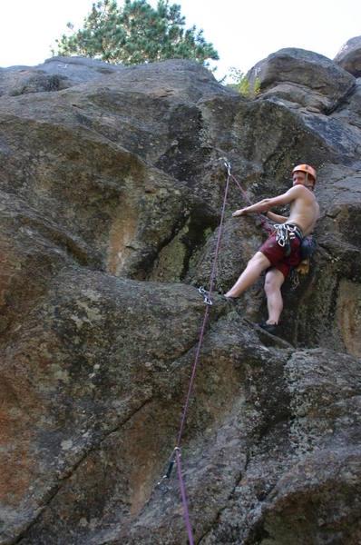 Shiny new sport 5.8+ at Maxwell Falls, Evergreen, Colorado.