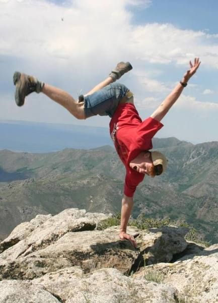 A little high altitude freestylin' at the summit of Paradise Peak, Santa Rosa Mountains, northern Nevada [~9,400 ft.]