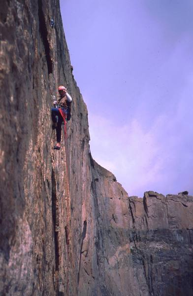 The topout of any Diamond route has primo scenery.<br> <br> Photo in 2007 by Tony Bubb of unknown party, I think on D7.
