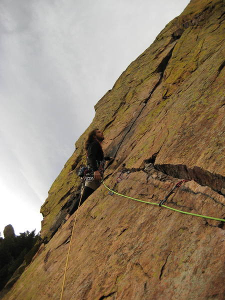 Christopher Perkins on Fourth pitch traverse of Rewritten.  Taken by Tristan Paddock.