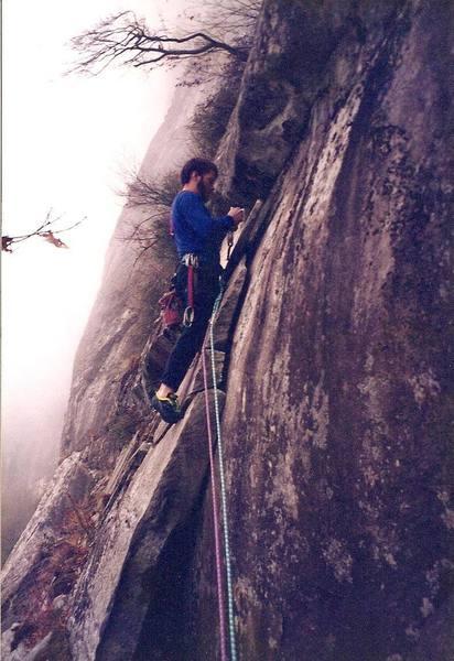 Pitch 2 I think... circa 1994<br> Climber - Brian Talbert