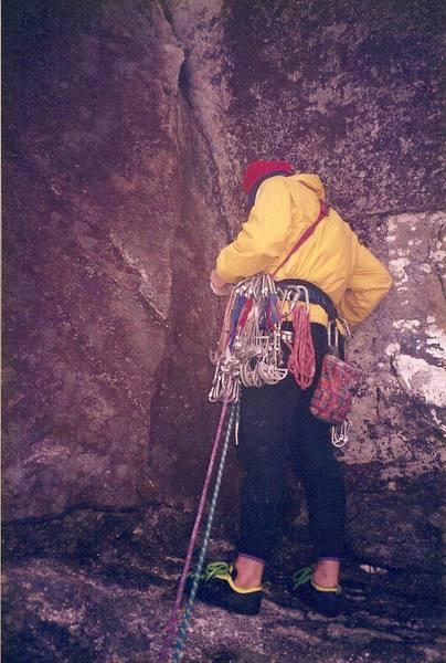 Prepping for pitch 4... circa 1994<br> Climber - Brian Talbert