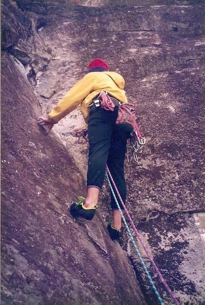 Grabbin' gear on pitch 4... circa 1994<br> Climber - Brian Talbert
