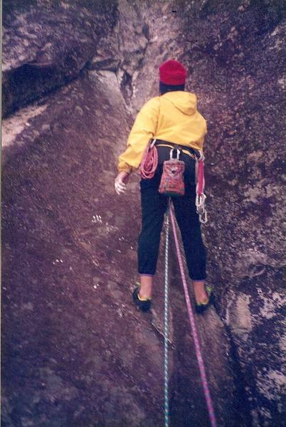 Scoping out the beta on pitch 4… circa 1994<br> Climber – Brian Talbert<br>
