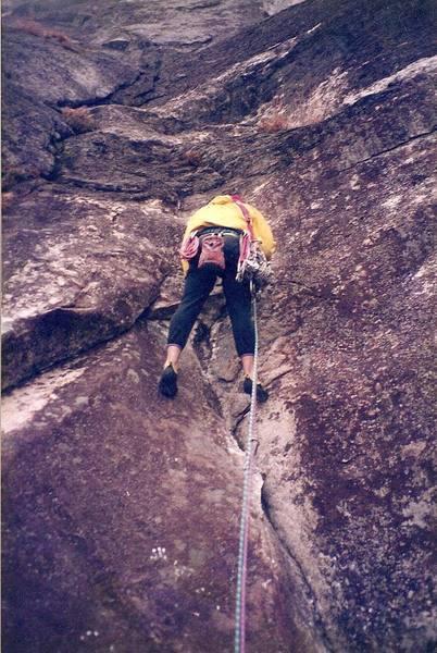 Making some progress on pitch 4... circa 1994<br> Climber - Brian Talbert