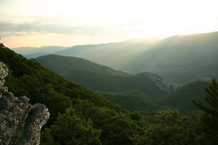 View from behind (east of) Seneca Rocks on North Fork Mountain.