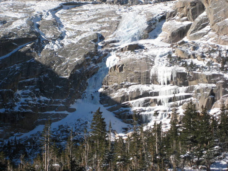 Black Lake Gully. Well in November 25, 2007.  Ice to the right also touching down.  Picture by Christopher Perkins.