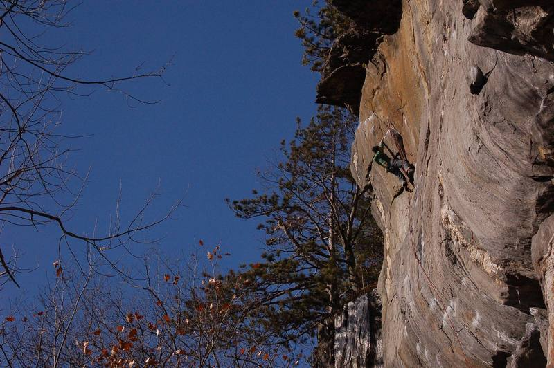 Jay Knower setting up for the final pump crux of this classic line.