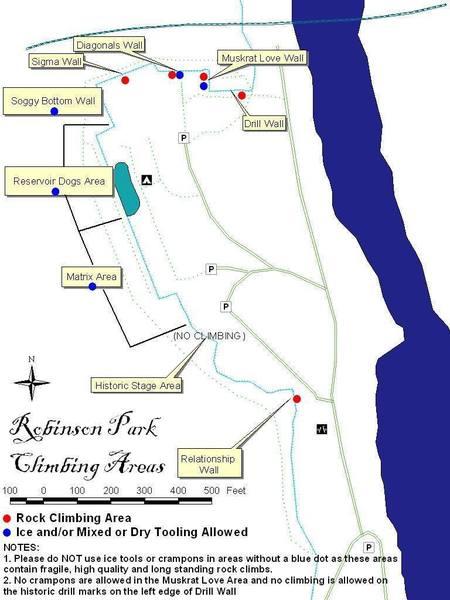 Robinson Park Climbing Areas Map