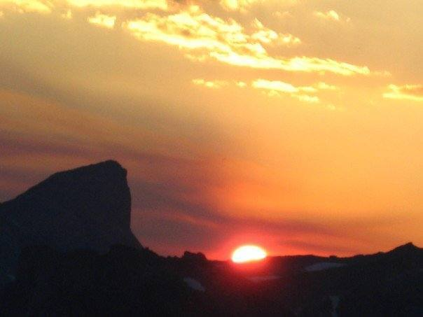 sun setting behind Lizard head