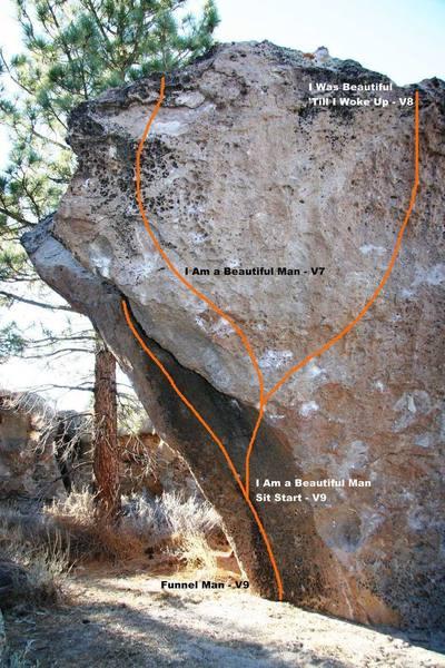The Beautiful Man Boulder East Face Left - Topo