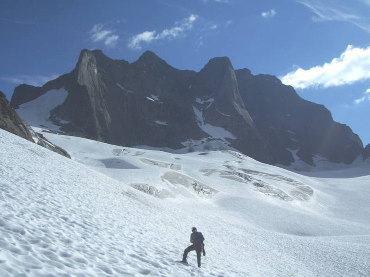 New-routing opportunities abound in the Adamants. Approaching Ironman on the The Austerity Glacier