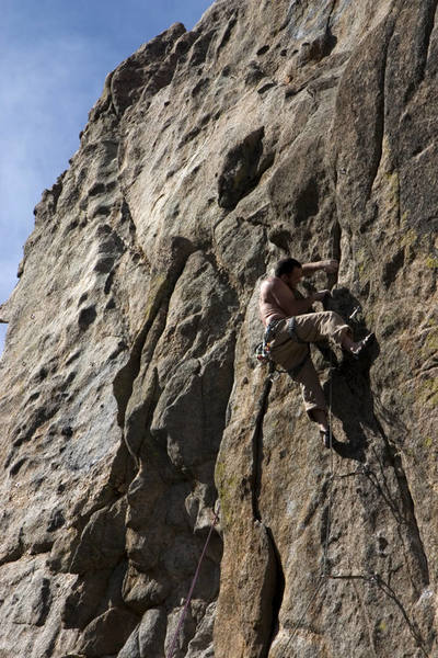 Mark nearing the anchors of Last Laugh.<br> <br> <em>Eds. this may be the route to the left of Last Laugh.</em><br> <br> Photo: Dave Fiorucci.