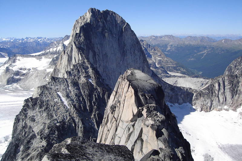 Claaic view of Bugaboo Spire as seen from the south summit of Snowpatch Spire.