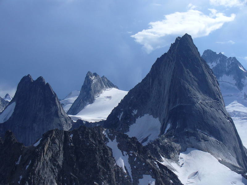A view of the spires from the summit of Brenta Spire