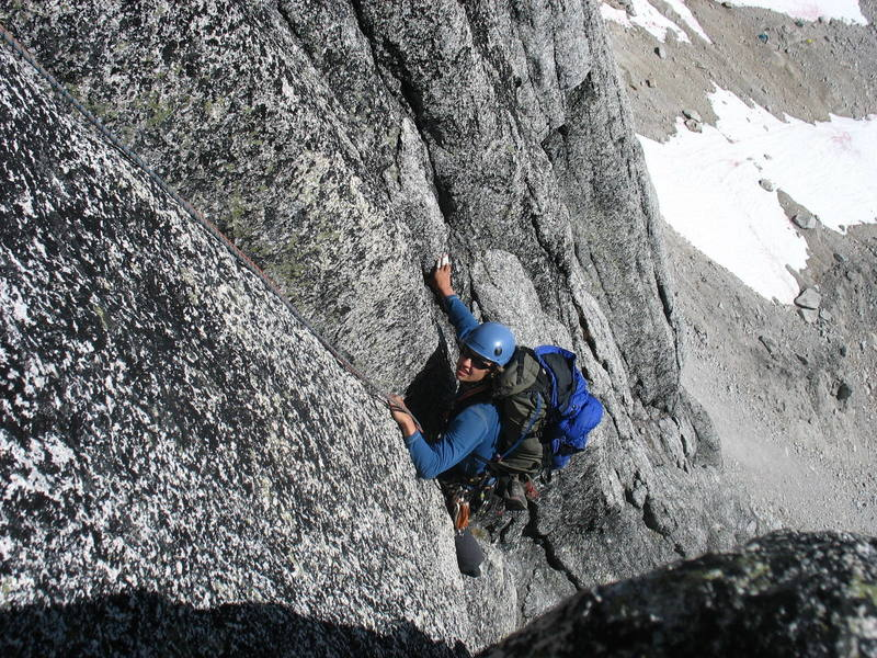 Glenn T. follows the second pitch of the BC, which climbs this 5.7 corner crack