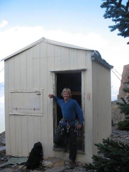 Glenn T. in front of the Castle Mountain hut.