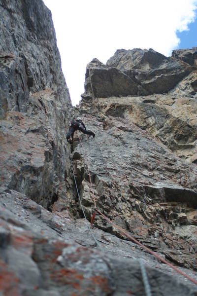 Pitch 9, the crux of the route at 5.7