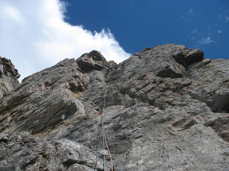The right finish (recommended) takes this steep wall (5.6) on pitch 12.