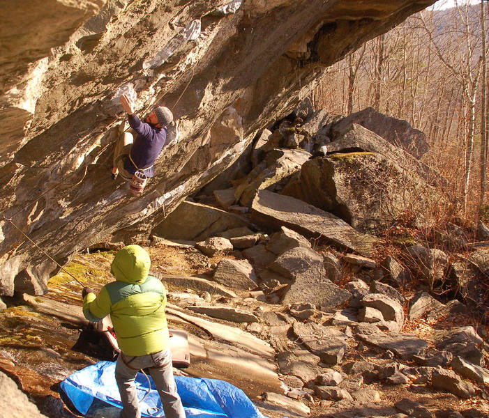 Jay Conway on the boulder problem start of Parallel Universe.