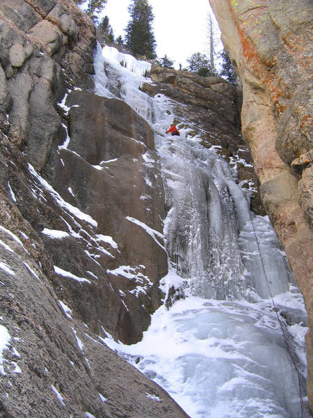 Trevor Bowman leading the first ascent.