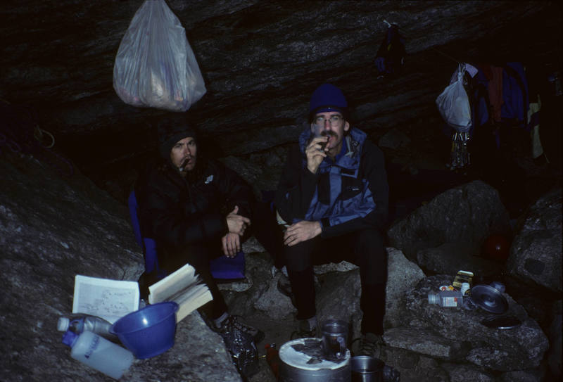 Peter and Deaun smokin' cigars after a another gourmet meal in the cave, Fairy Meadows, Cirque of the Unclimbables