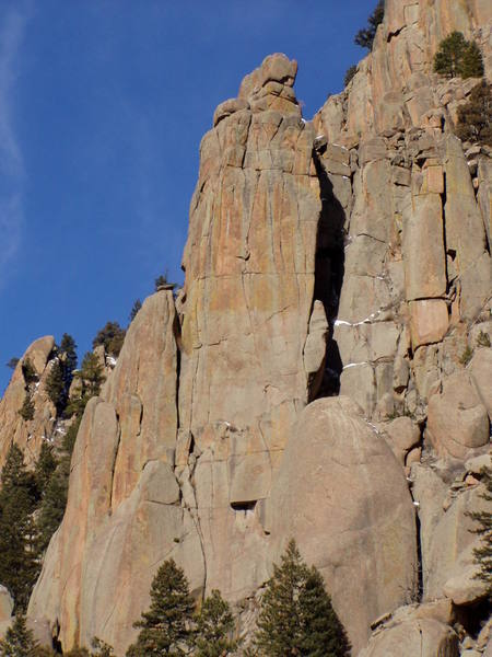 The Poe Buttress, with the second pitch of Edge of Fright left of the shadowed dihedral in the middle of the picture.