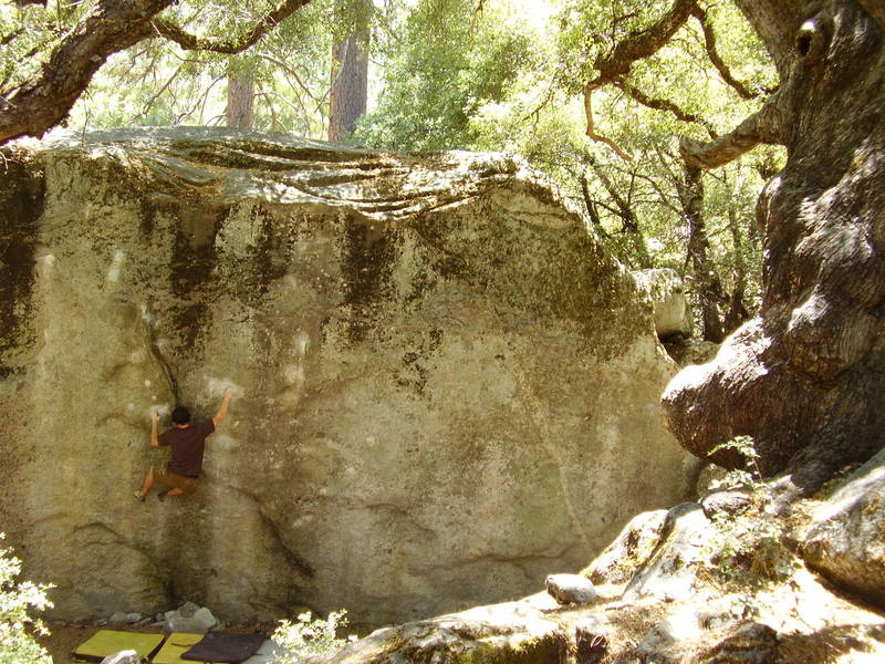 Thriller goes up the middle of the boulder. No hobbits or Ents any where though.