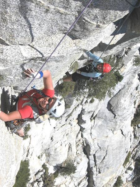 Monica & Catherine on Super Pooper heading for the crux crack...