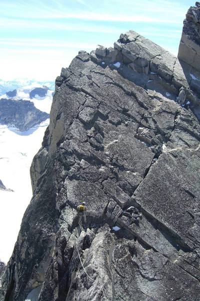 Midway through the summit traverse to the descent of Bugaboo spire.