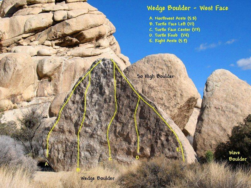 Wedge Boulder - West Face, Joshua Tree.