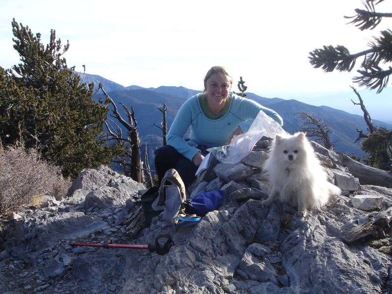 Mt. Charleston, Nevada.<br> <br> Leisha, Casper, and G on the summit, having Bonanza Peak all to ourselves on a beautiful December day.<br> <br> (Taken 12/5/07)