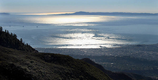 Santa Barbara, the Pacific Ocean and Channel Islands, from above Gibralter Area.