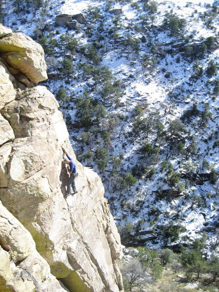 Jim Scott climbing on 12/15/07.  Elevation 5700ft. High temp. 53 degrees in Tucson.  Climbed all day but had to dodge a bit of ice now and then.  That is 6 inches of snow on the north facing side of the canyon.