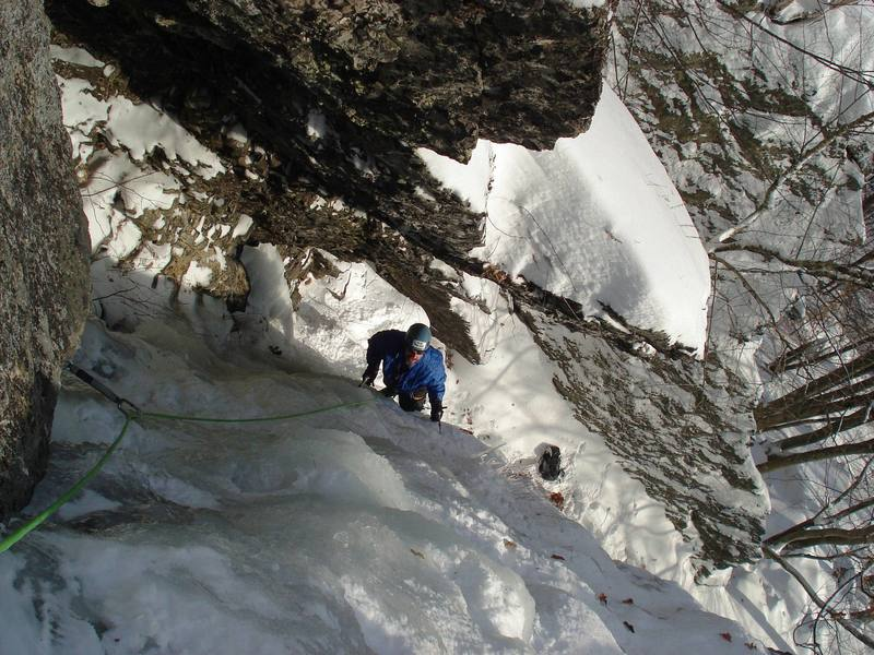Looking down the Cave Route with the Wimpy-Gilman Ridge below...