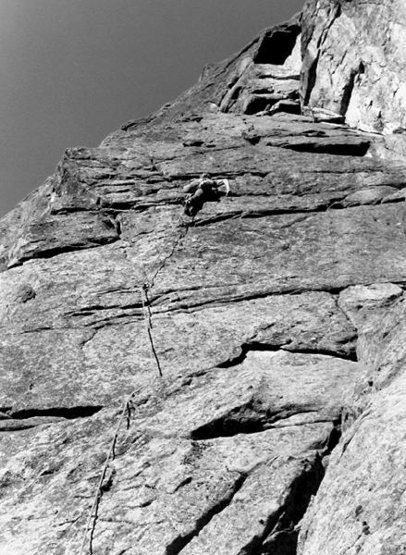 Climbing at Castle Rock, late 1970s.<br> Photo by Blitzo.