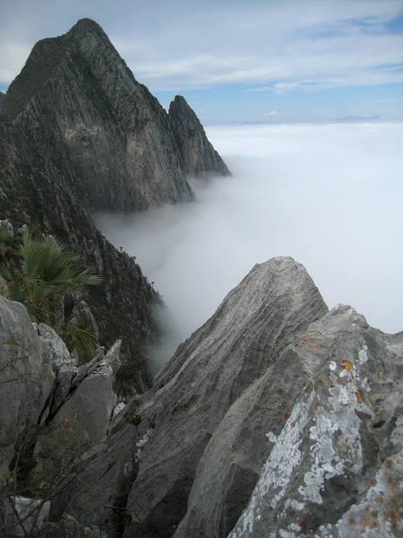 """Cloud view from """"El Toro"""" summit, Potrero Chico, Mexico"""