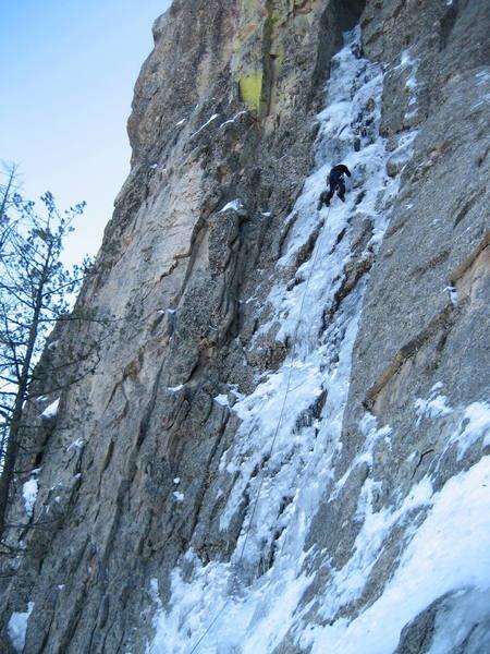 Mt. Lemmon Ice.  Jimbo on the thin stuff. Sorry we have been sworn to secrecy.  12/23/07
