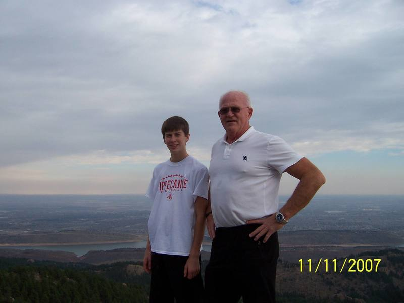 Jacob and Grandpa on top of Horsetooth Rock.