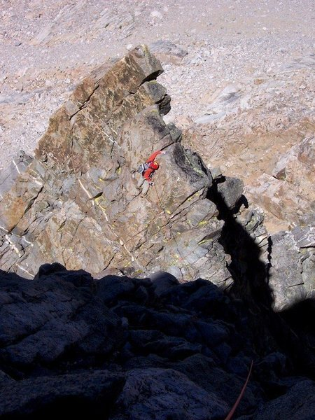 Exposed traversing on the lower half of the route - July 2007<br> <br> Photo (c) by Pavel Kovar